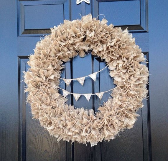 Burlap Wreath With Personalized Banner By ShutTheFrontDoorInc