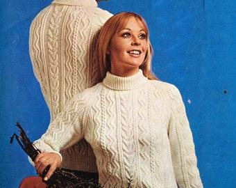 Mens and ladies aran jumper  vintage knitting pattern PDF instant download