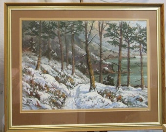 Richard Black original painting  American listed artist painting pastel Winter forest lake snow view Freight extra cost