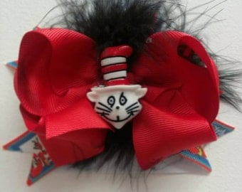 cat hair bow red and black