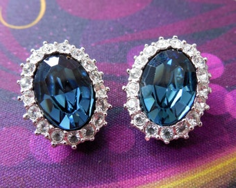 Blue Topaz and Rhinestones Earrings in beautiful condition