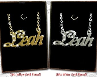 Name Necklace Leah - 18K Gold Plated, Czech Rhinestones