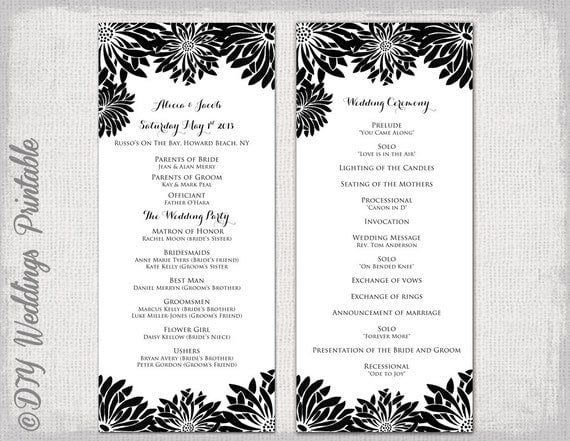 Printable wedding program template black white printable wedding program template black white flower burst gerber daisy download order of ceremony diy order of service you edit pronofoot35fo Image collections