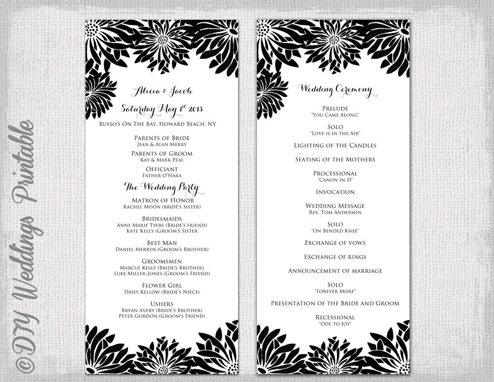 Printable Wedding program template Black & white