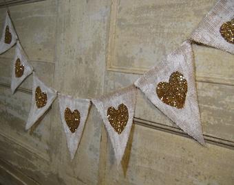 Valentines Day Banner, Heart Banner, Heart Burlap Bunting, Gold Glitter Hearts, Valentines Day Decor, Wedding Decor, Burlap Banner, Rustic