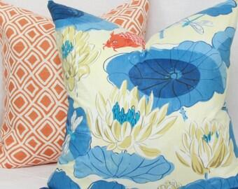 "Blue & orange Chinoiserie pillow cover. 18"" x 18"" toss pillow. Accent pillow."