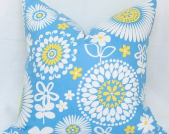 French blue & yellow floral pillow cover. 18 x 18 pillow cover. Accent pillow.