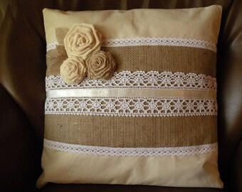Burlap, Burlap pillow, Throw Pillow, Pillow cover, European Linen Cushion Cover, Lace Pillow