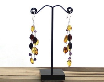 Baltic Amber Floating Dangle Earrings with Silver French Wire Hooks