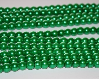 Kelly Green Glass Beads - 8mm - 48ct