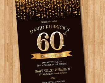 60th Birthday Invitation. Gold glitter diamond number birthday bash invite. Chalkboard background. Custom any color wording. DIY