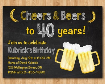Th Birthday Invitation Beer Party Invitations Chalkboard - Birthday invitation in germany
