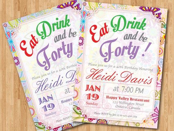40th birthday invitation woman. adult birthday party invites., Birthday invitations
