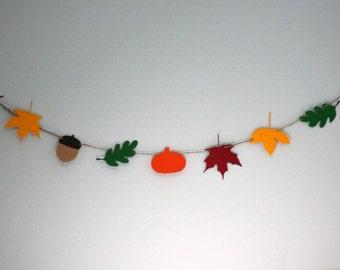 Fall / Autumn Garland - leaves, acorns, and pumpkins