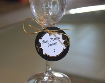 Champagne Glass Place Cards, Customizable