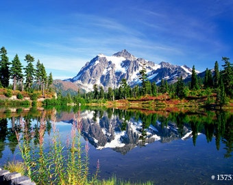 Landscape photography - Mt. Shuksan in Autumn, Washington State, USA. Home and office wall decor photographic print.