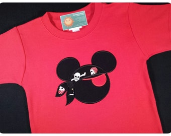 Boy's Mouse Head Pirate Red Eye Patch Shirt