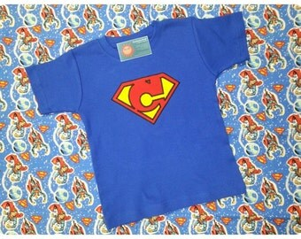 Boy's SuperHero Symbol Shirt with Custom Letter