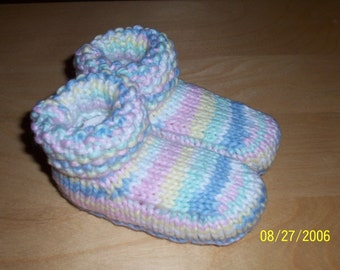 Knit Baby Booties - Variegated Baby Booties - 6 Months