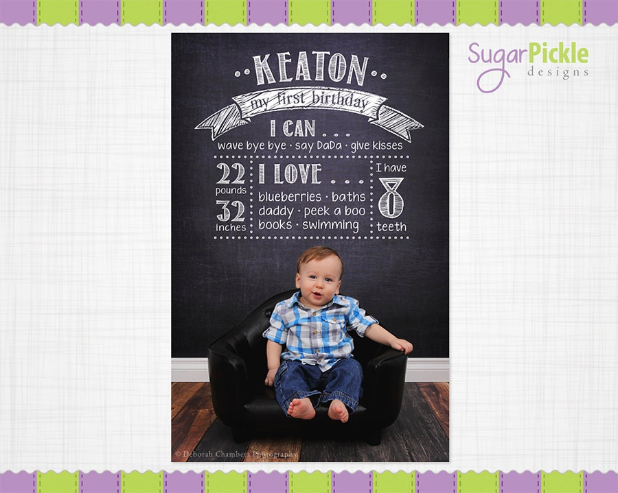 Birthday chalkboard template birthday overlay first birthday for First birthday board template