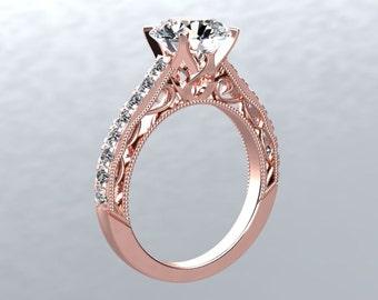 18kt Rose Gold Engagement Ring Round 1ct Forever One Moissanite & Genuine Diamonds Ring Victorian Love Pristine Custom Rings