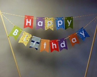 "Cake Bunting,""Cheerful"" Happy Birthday, Cake Topper, Paper banner"