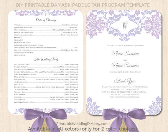 Lavender lilac paddle fan program template by yourweddingtemplates for Fan program template
