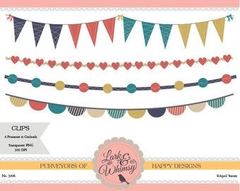 4 Clipart Pennants and Garlands · Digital Scrapbook · Clip Art · Bunting · Flags · Garland · Personal & Commercial Use · Instant Download