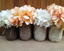Pint Painted Mason Jars,Vintage,Rustic Home Decor,Wedding Centerpieces, Shabby Chic Painted Mason Jars,French Country,Baby Bridal Shower