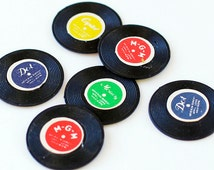 12 Vintage Miniature Record Charms Plastic 70s Collectible