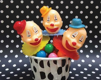 Jumbo Clown Cupcake Toppers (12), Vintage Clown Cake Picks, Carnival Party, Circus Theme Party Supplies