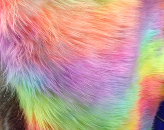 Lime green/orange  wave rainbow fake fur,sold by the yard.36x60 inches