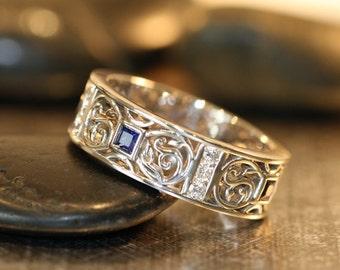 Celtic Wedding Band Princess Cut Sapphire And Diamond Wedding Ring 14k White Gold Mens Sapphire Ring