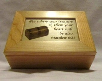 Personalized Wooden Engraved Keepsake Box- Treasure