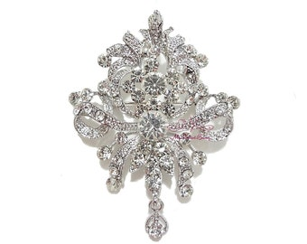 Bridal Brooch, Vintage Brooch well made with Rhinestone Crystal, Bridal Brooch, Wedding brooch BR0016