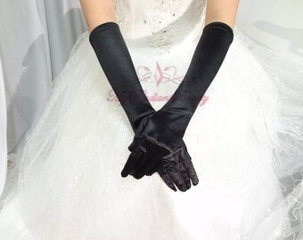 Bridal Black Gloves, Bridal Gloves, Black Satin Long Full Finger Bridal Gloves, Wedding Gloves, Wedding Accessory BG0016B