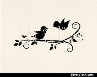 SVG birds clip art,black birds clip art,silhouette birds clip art,black clip art,wedding,birds on the branch, instant download