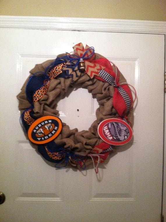 Tiger/Bama Collegiate Burlap Wreath, Roll Tide/War Eagle Wreath,Collegiate Wreaths, House Divided Wreath, War Eagle Wreath, Bama Wreath