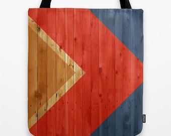 Woodgrain Color Block Tote Bag