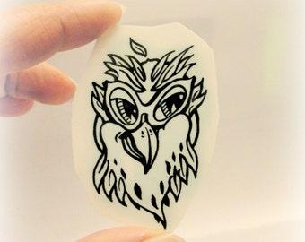 Owl sticker tattoo.Kids tattoo. Owl hand drawn tattoo. Owl birthday party. Custom temporary tattoos. Owl water transfer tattoo.