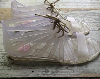 Vintage 1990 S Jelly Gladiator Sandals Size 8