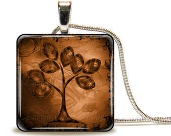 Brown Tree of Life, Glass Tile Necklace, Glass Tile Pendant, Glass Cabochon, Ready to Ship