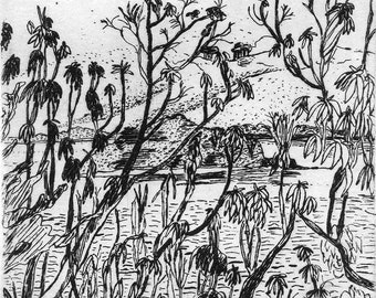 View from a Hill  - Original Etching & Engraving, Hand-printed, Limited Edition