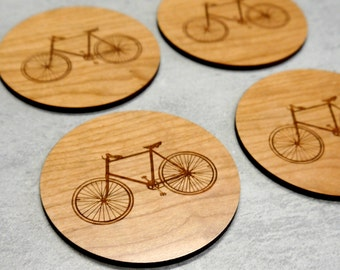 Wooden Coasters, Drink Coasters, Bicycle Coasters, Set of 4 Wood Coasters, Wedding Coasters, New Home Gift, Housewarming Gift, New Home
