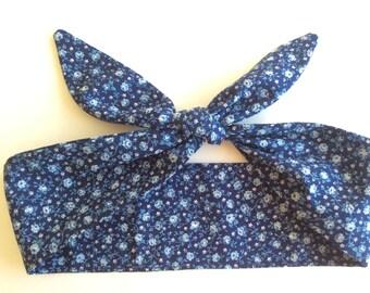 Dolly Headband, Tie-Up Hairband, Blue Flowers