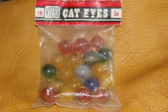 Vintage 19 Vitro Cat Eyes Marbles Still Sealed In Original