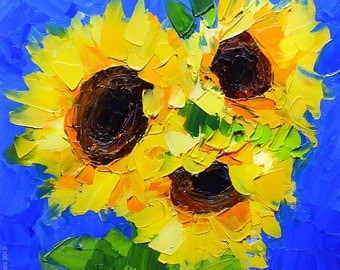 Sunflowers: Contemporary Impressionistic Oil Painting with Palette Knife