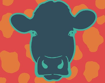 The Colorful Cow  - 8x10 Art Print