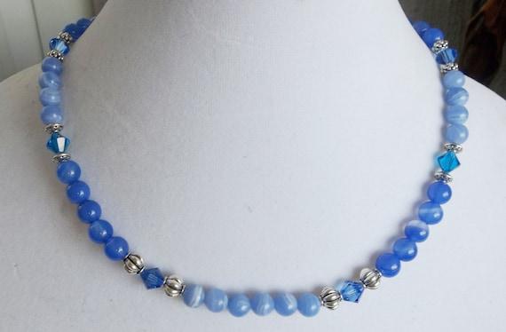 Elegant Blue Gemstone and Crystal Necklace