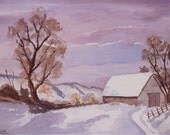 Original Watercolour Painting North Downs in Winter      Lovely Gift!